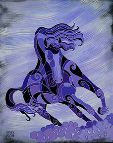 Black horse contemporary painting