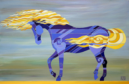 Going with the Flow WAlking horse painting
