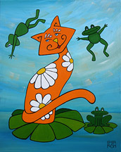 Leap Frog Over Cat Painting