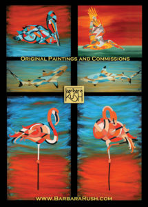Flamingo, shark, pelican art collage