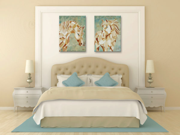 White Horse Paintings above bed