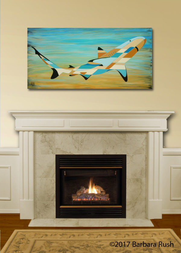 Shark art over fireplace