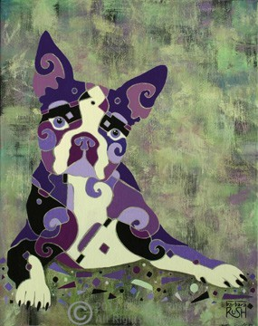 Boston Terrier or French Bull Dog Art