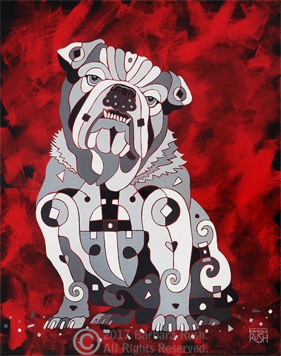 White Bull Dog Painting