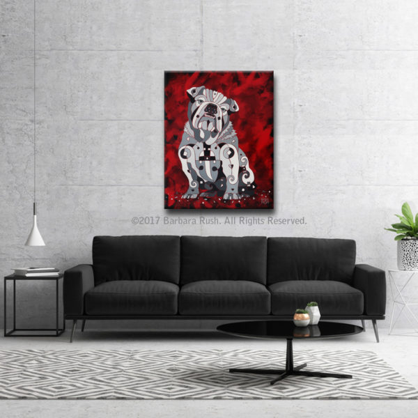 Bull Dog Art over Black Couch