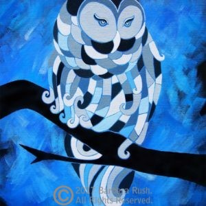 Contemporary Blue Night Owl Art