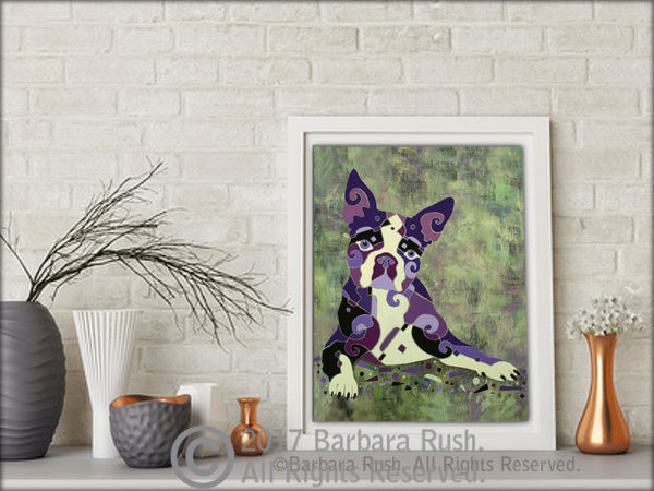 Boston Terrier Art On Stand by