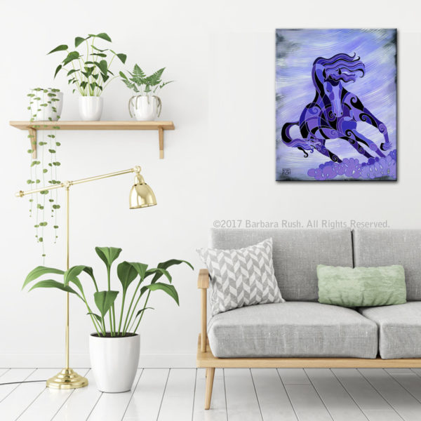 Living Life at Full Tilt Purple horse art