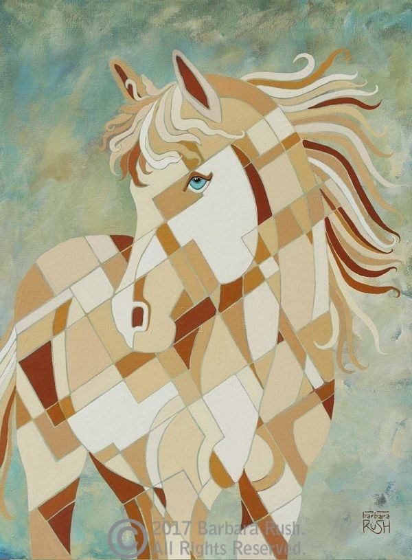 Beautiful White Horse on Pale Teal Background