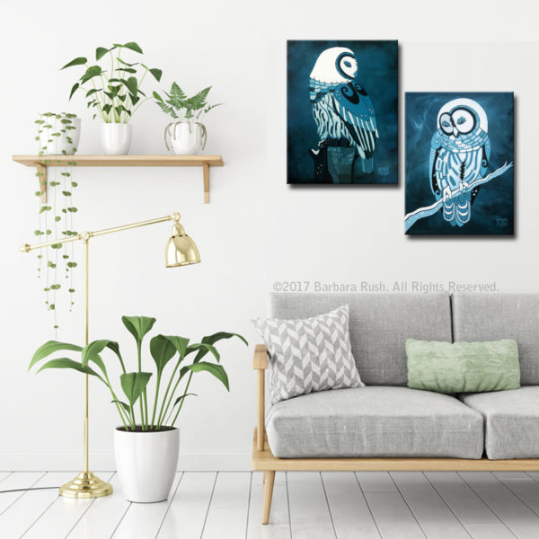 Retrospect and Purity in the moonlight a pair of owl prints