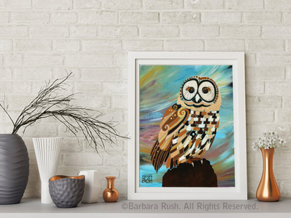 A Brand New Day baby owl painting