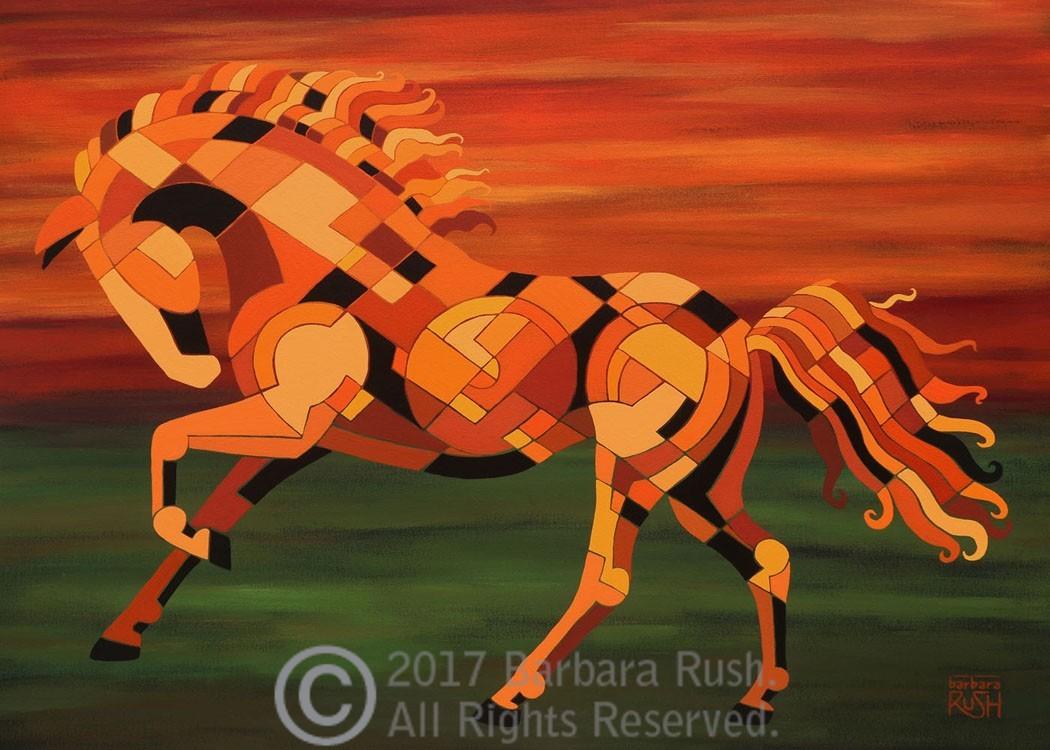 Running With Fire Horse Art Original Painting Barbara Rush Fine Art