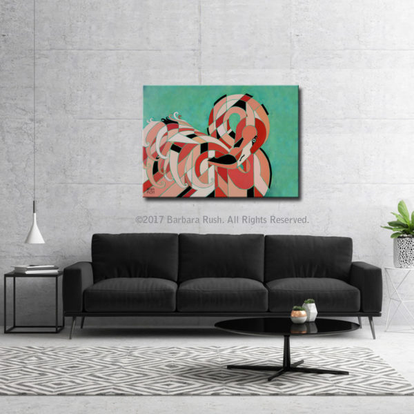 A Regal Contemporary Flamingo Paintings