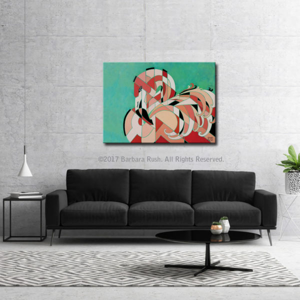 Regal Contemporary Flamingo Painting