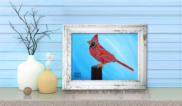 Bright red cardinal in a white frame