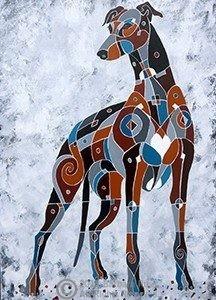Brindle Greyhound painting