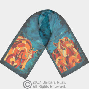 Orange and Teal Horse Scarf