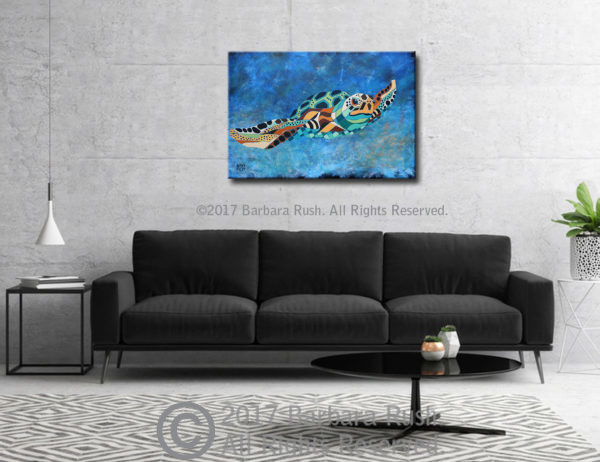 Contemporary Sea Turtle Painting