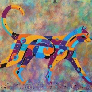 Strutting cat art