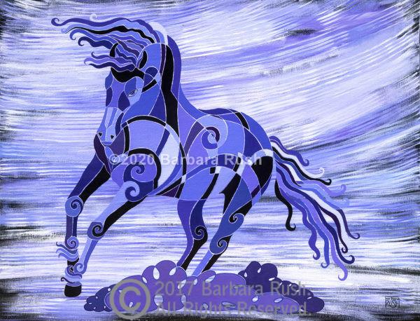 Beautiful friesian horse in purple, horse art