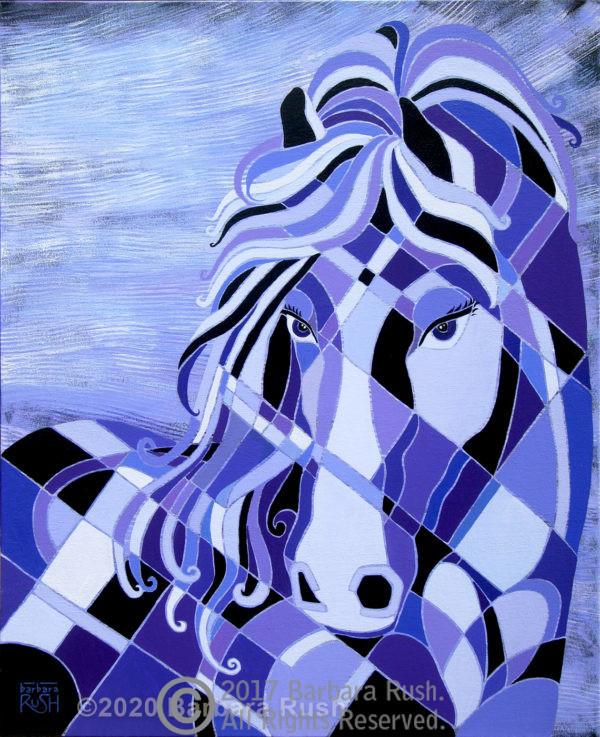 Black purple ans lavender horse