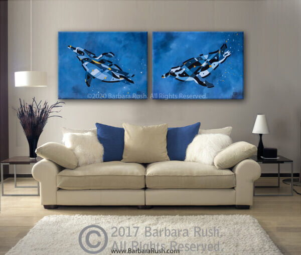 penguins swimming original paintings