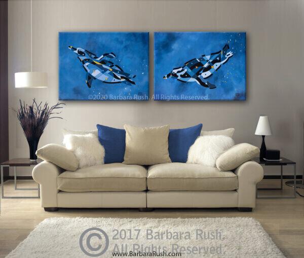 penguins swimming original paintings